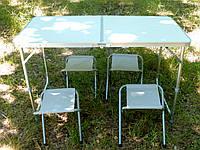 Складной стол-чемодан для пикника с 4 стульями, туристический стол раскладной на природу