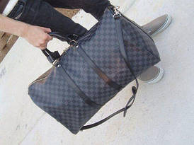 Сумка Louis Vuitton Keppall кожаная 55 см, серая шахматка, Люкс