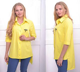 Женская летняя рубашка с удлиненной спинкой большого размера 52-54