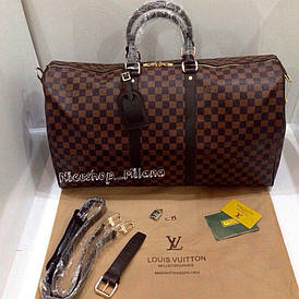 Сумка Louis Vuitton Keppall кожаная, 55 см, коричневая шахматка, Люкс