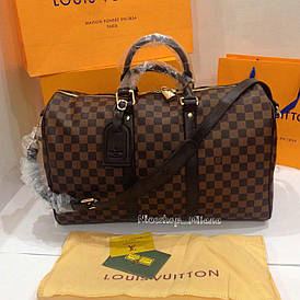 Сумка Louis Vuitton Keppall кожаная 50 см, коричневая шахматка, Люкс