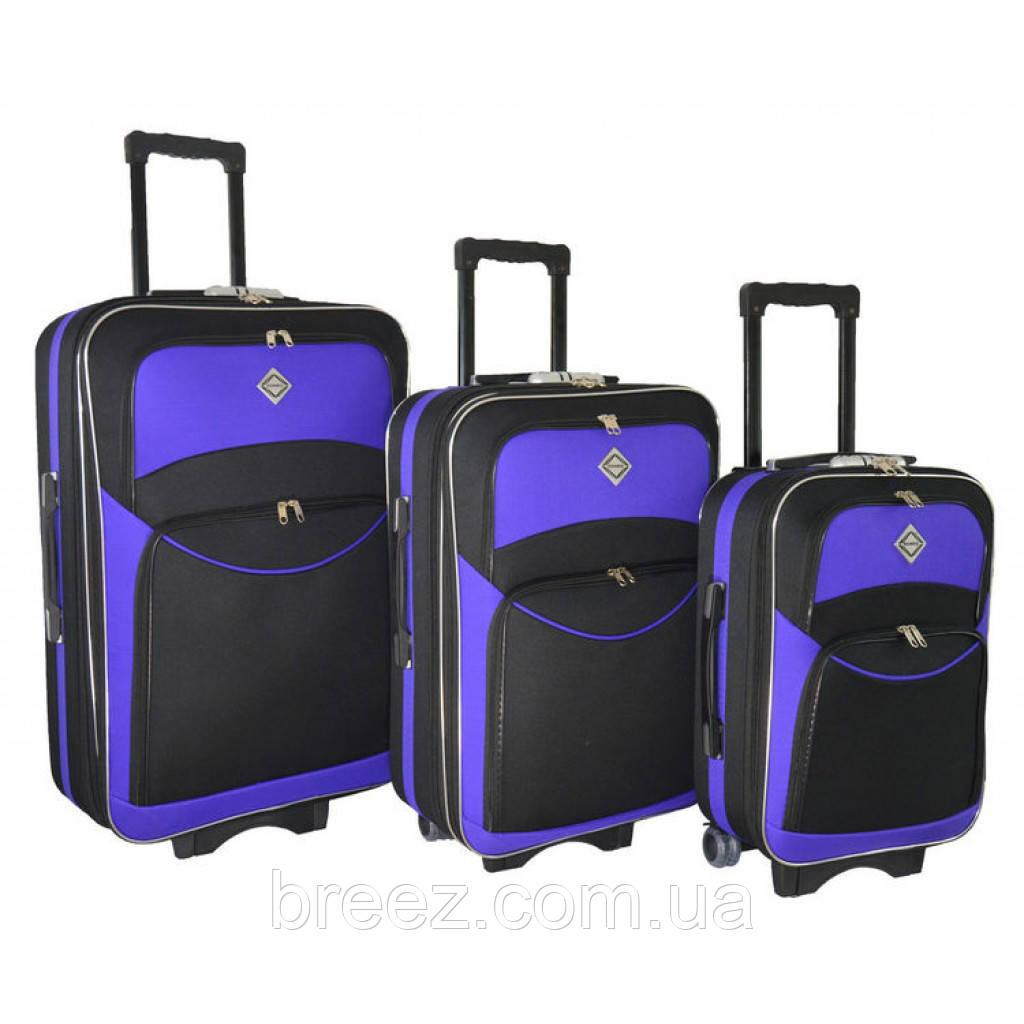 Чемодан Bonro Style набор 3 штуки черно-фиолетовый