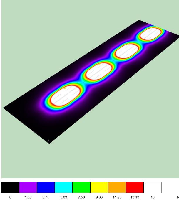 Визуализация освещенности тросовыми уличными светодиодными светильниками