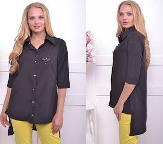 Летняя женская блуза с удлиненной спинкой большого размера 52-54