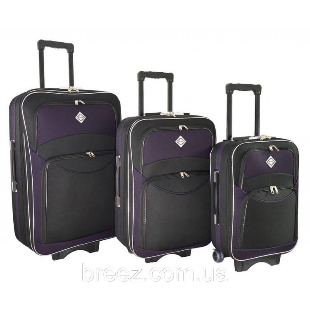 Чемодан Bonro Style набор 3 штуки черно-т.фиолетовый