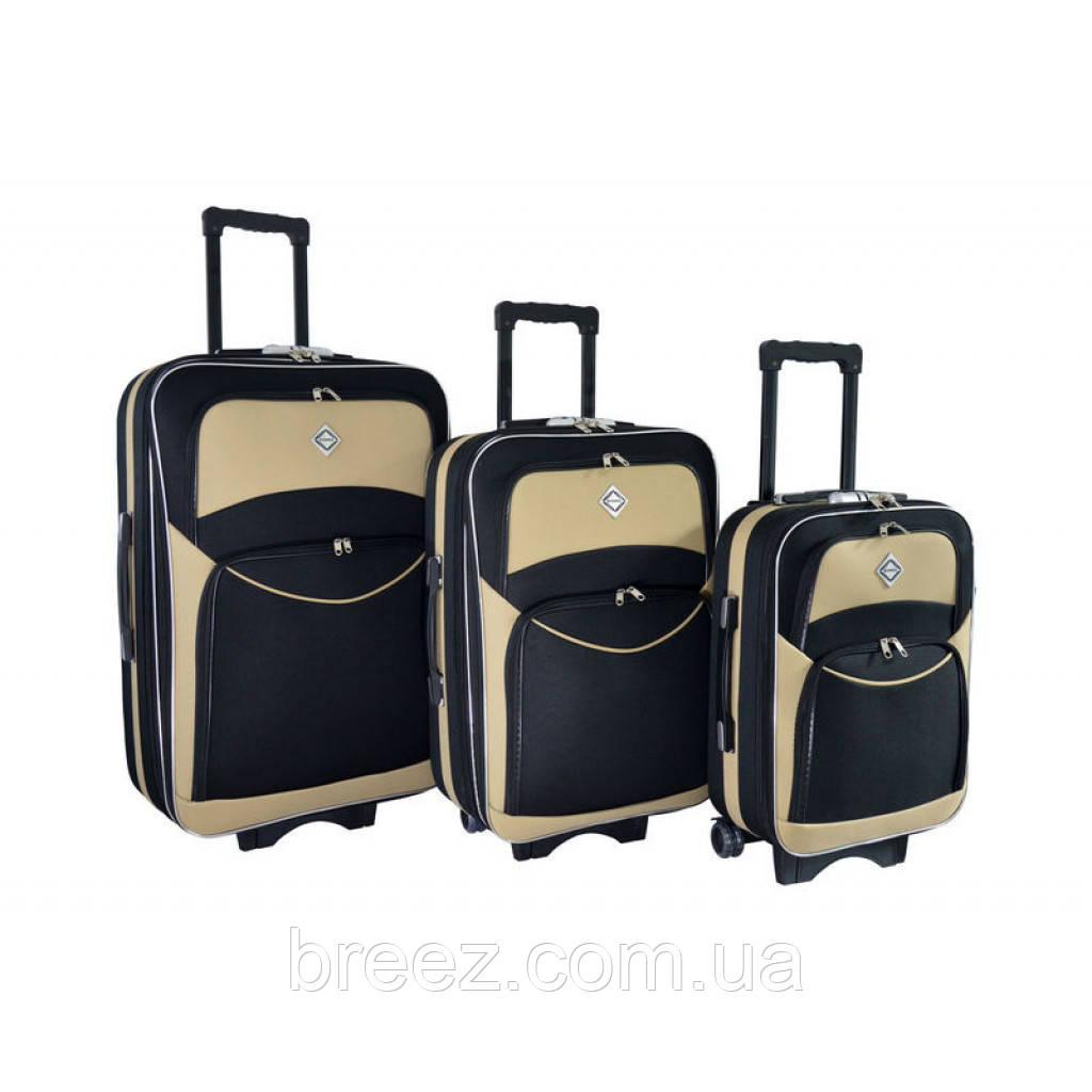 Чемодан Bonro Style набор 3 штуки черно-кремовый