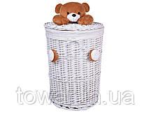 Плетеная корзина для игрушек с плюшевым мишкой 75 л.