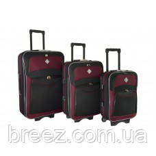 Чемодан Bonro Style набор 3 штуки черно-вишневый