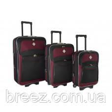 Чемодан Bonro Style набор 3 штуки черно-вишневый, фото 2