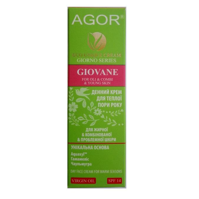 Крем для лица дневной GIOVANE для жирной, комбинированой и проблемной кожи Agor, 50 мл