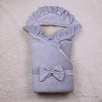 """Зимний велюровый конверт """"Мария"""", серый, фото 1"""