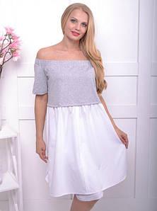 Женское комбинированное платье-туника большого размера 50-58