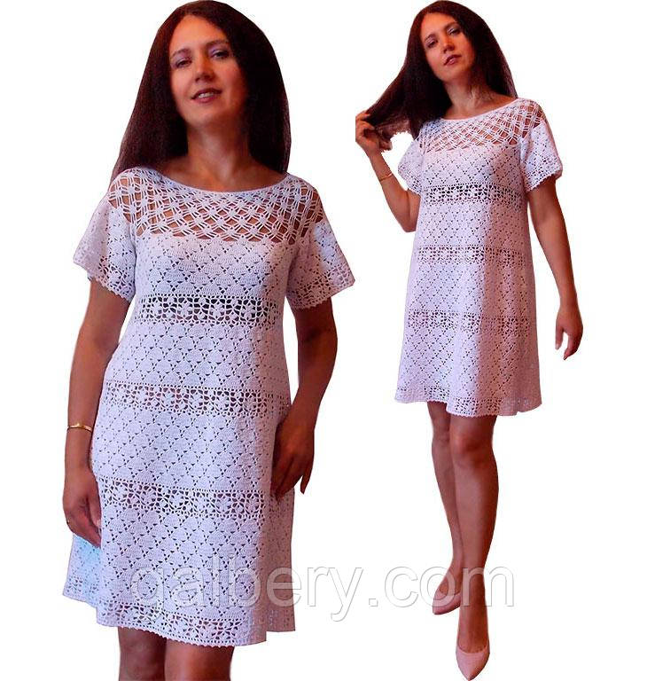 e22c7c5e675 Белое вязаное крючком платье по мотивам