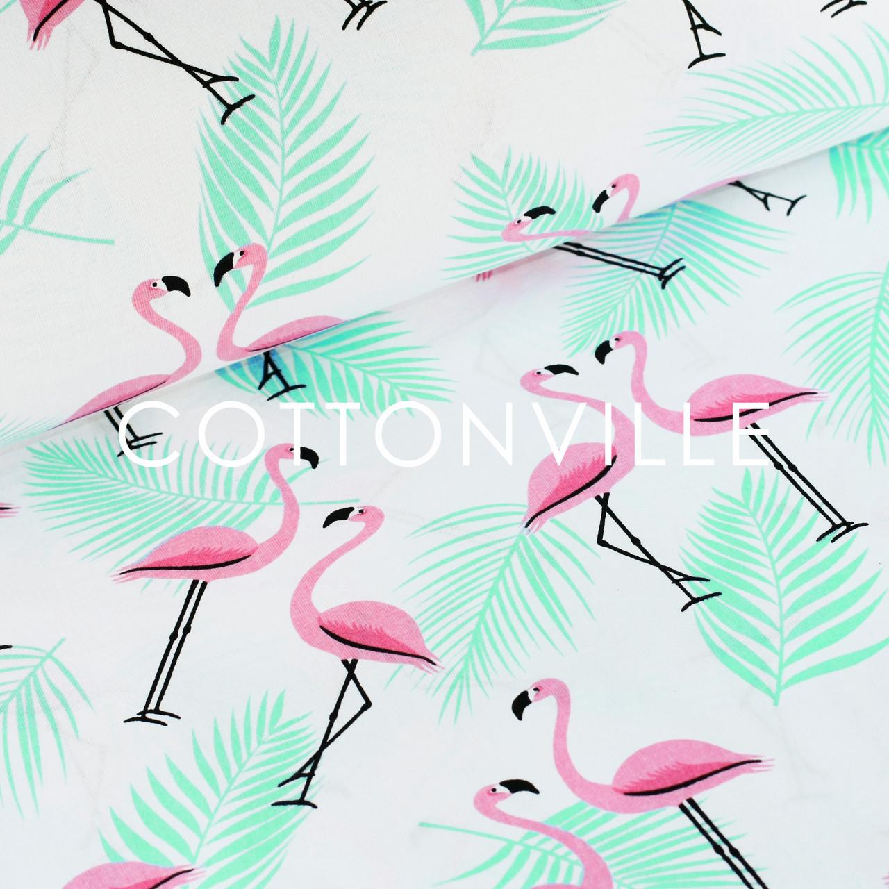 ✁ Отрезы бязи Фламинго с мятными листьями