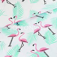 ✁ Отрезы бязи Фламинго с мятными листьями, фото 1