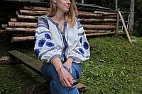 Жіноча вишиванка на льоні з машинною вишивкою синього кольору