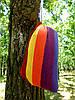 Одноместный подвесной гамак 100х190 см, хлопок, нагрузка до 100 кг. Одноместный тканевый гамак., фото 9