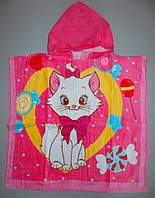 Пляжное полотенце пончо детское велюр махра 60х60 см котенок