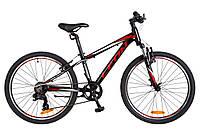 """Детский велосипед Leon Junior AM VBR 24"""" черно-красный"""