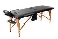 Массажный стол деревянный 2 х сегментный черный + сумка в подарок