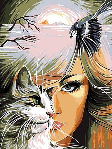 Розфарбування по номерах 30×40 див. Дівчина і кішка