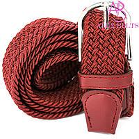 Ремень плетенка резинка на шпеньке (бордовый)  35 мм - купить оптом в Одессе