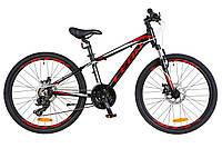 """Детский велосипед Leon Junior AM DD 24"""" черно-красный"""