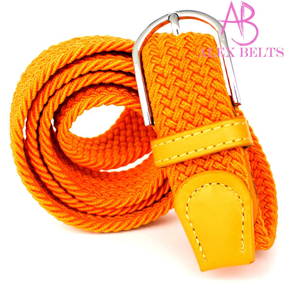 Ремень плетенка резинка на шпеньке (оранжевая) 35 мм - купить оптом в Одессе