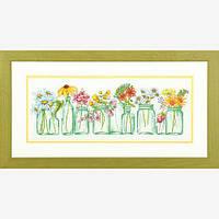 Набор для вышивания крестом Цветы в банках/Mason Jar Lineup DIMENSIONS 70-35310