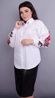 Юсмина. Стильная блуза плюс сайз. Белый. 50, 52, 54, 56