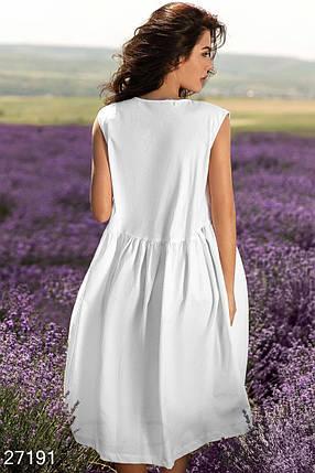 Красивое летнее платье средней длины без рукав свободное белое, фото 2