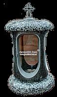 Лампадка (подсвечник) с гранитом для надгробного памятника покостовка, серебро