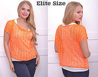 Яркая летняя блуза-двойка большого размера 50-60