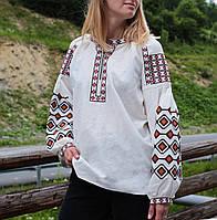 Жіноча вишиванка на льоні з машинною вишивкою червоного кольору