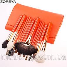 Набор профессиональных кистей Z'OREYA 22 шт в чехле (Оранжевый), фото 3