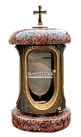 Лампадка (подсвечник) с гранитом для надгробного памятника лезник, бронза