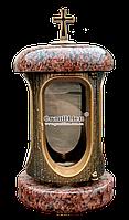 Лампадка (подсвечник) с гранитом для надгробного памятника Лампада, подсвечник, лезник, бронза