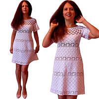 b1849263622 Белое вязаное крючком летнее платье по мотивам