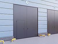 Распашные гаражные ворота в стальной раме из сэндвич-панелью Дорхан