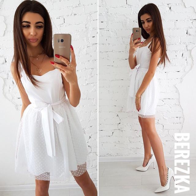 ba910345c25 Платье сарафан красивое с пышной юбкой из сетки в горошек разные цвета.