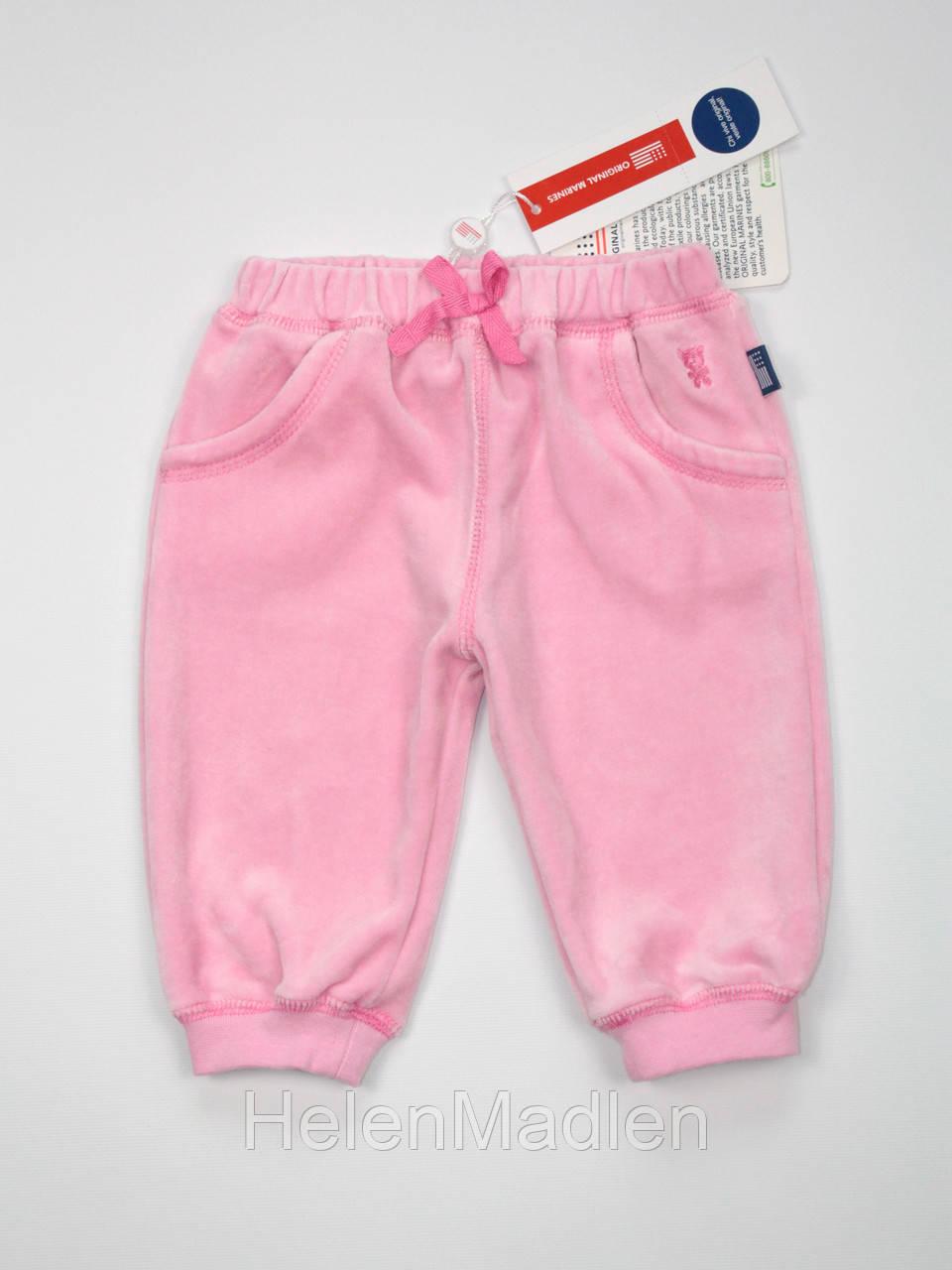 Брюки штаны велюровые Original Marines 3-6 мес розовые