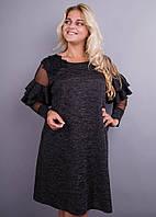 Юнона ангора. Нарядное женское платье плюс сайз. Серый меланж., фото 1