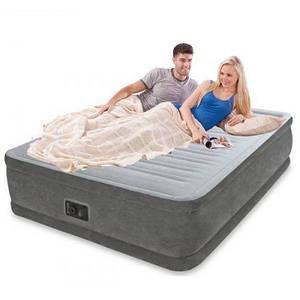 Надувная кровать велюр с насосом 220V Intex 64414