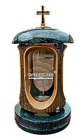 Лампадка (подсвечник) с гранитом для надгробного памятника габро, бронза
