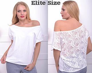 Летняя футболка с гипюровой спинкой большого размера 50-60