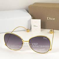 Женские солнцезащитные очки Dior серые градиент  оправа металлическая под золото Диор люкс реплика, фото 1