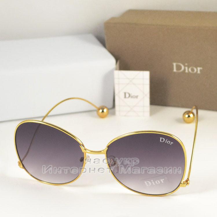 Женские солнцезащитные очки Dior серые градиент  оправа металлическая под золото Диор люкс реплика