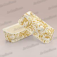Бумажные формы для кексов и пирогов Plumpy, золотистый узор на белом, 158x54x50 мм