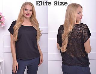 Женская футболка со спинкой из гипюра большого размера 50-60