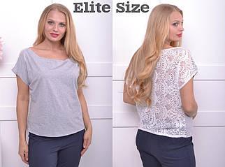 Летняя женская футболка со спинкой из гипюра большого размера 50-60